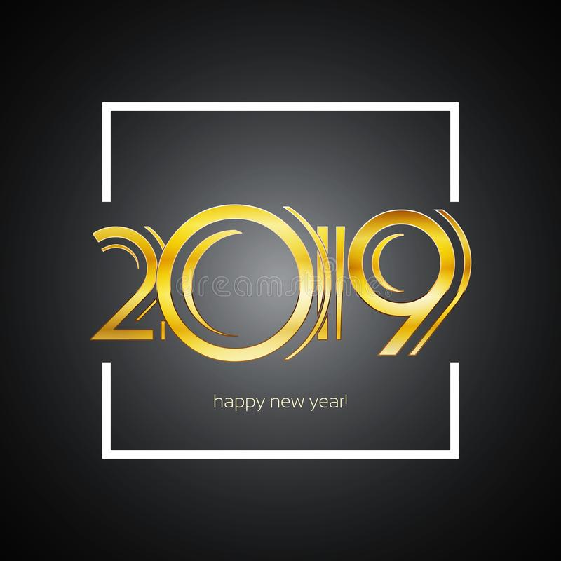 Cartão 2019 - números do ano novo feliz dourados em corajoso branco ilustração royalty free