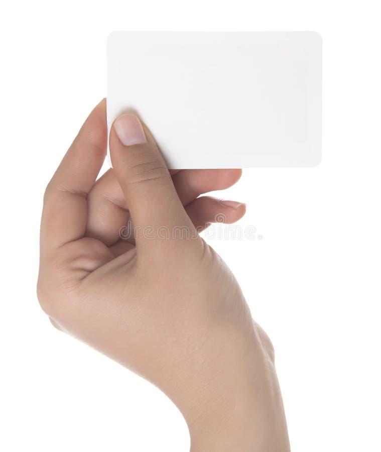 Cartão na mão da mulher imagens de stock royalty free