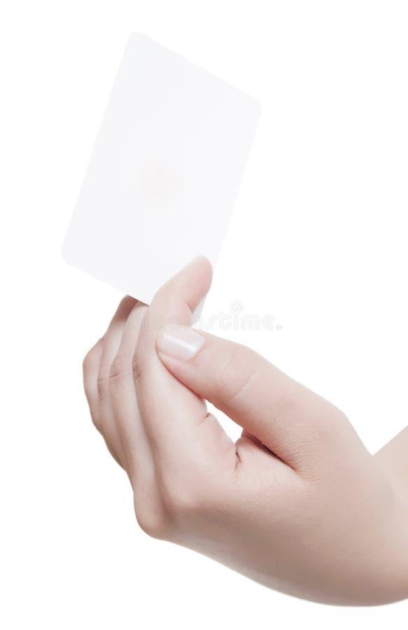 Cartão na mão da mulher imagens de stock