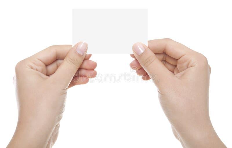 Cartão na mão da mulher fotos de stock