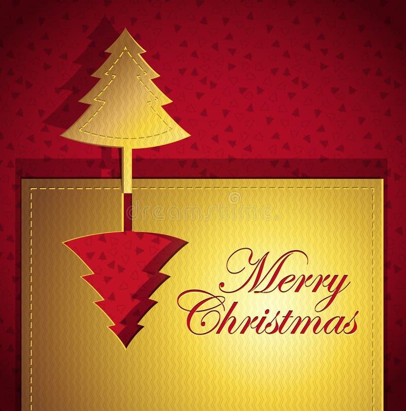 Cartão na moda creativo do Natal vermelho ilustração royalty free