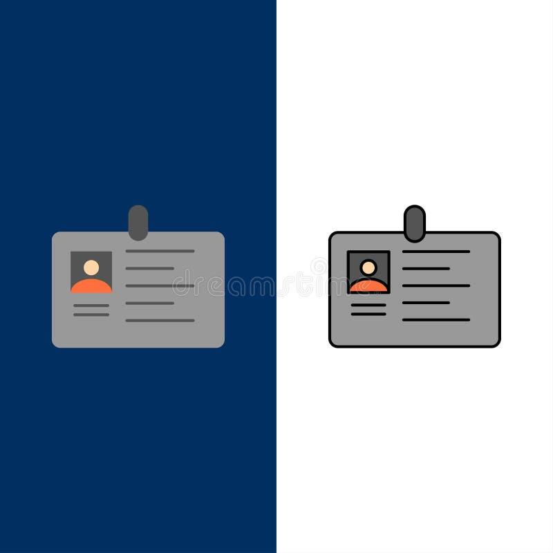 Cartão, negócio, incorporado, identificação, cartão da identificação, identidade, ícones da passagem O plano e a linha ícone ench ilustração stock