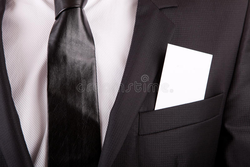 Cartão no bolso do terno imagens de stock