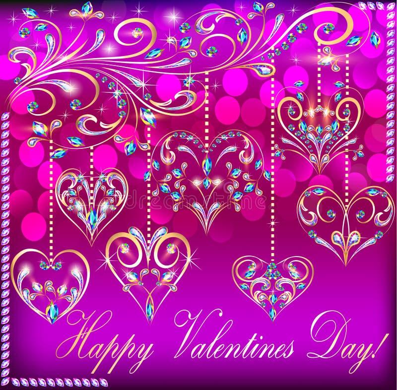 Cartão no dia de Valentim com o coração do suspendido ilustração royalty free