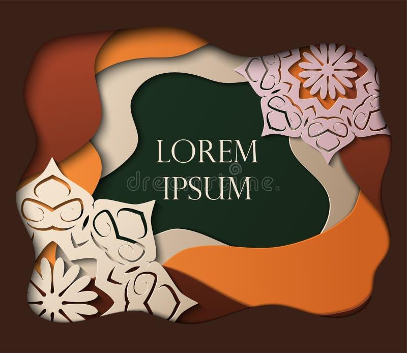 Cartão no estilo cortado de papel com mandalas, projeto mínimo do molde Ondas de papel abstratas, camadas, arte 3d Ilustração do  ilustração stock