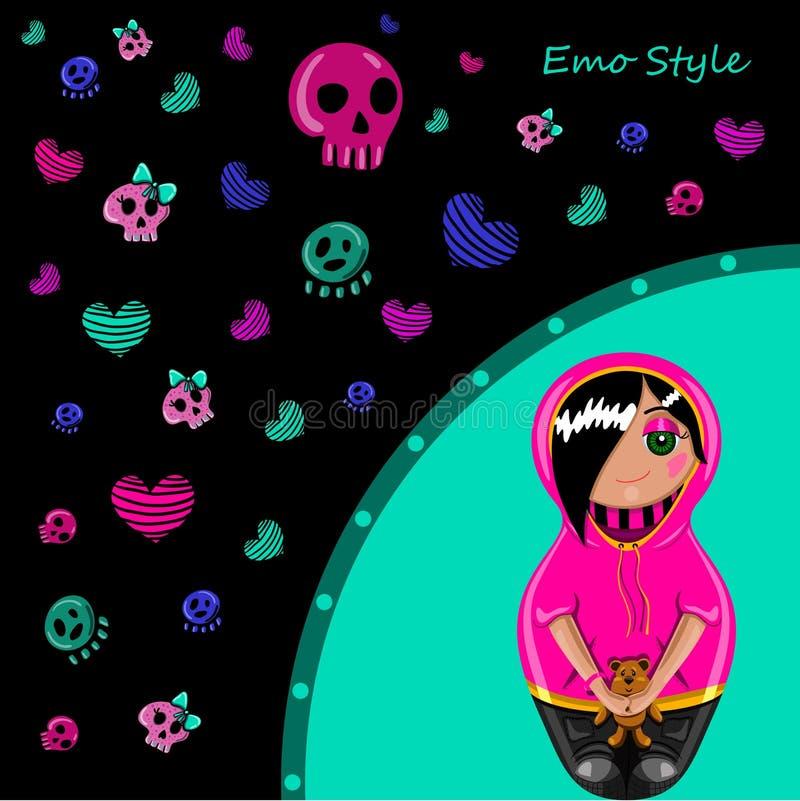 Cartão no estilo do emo ilustração royalty free