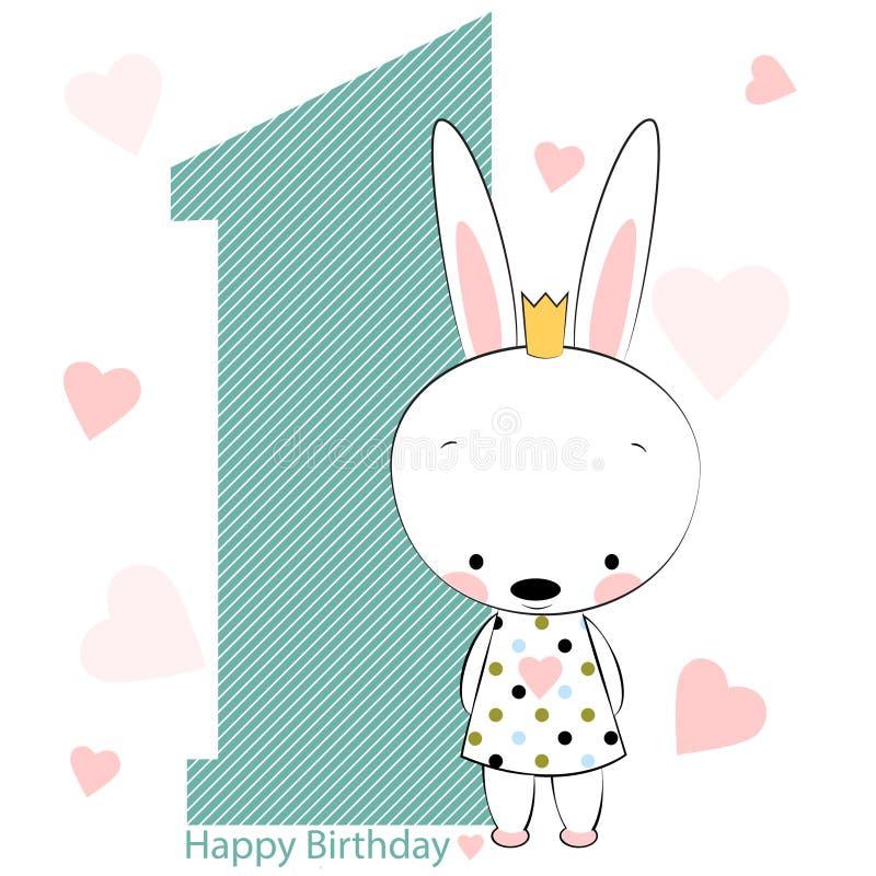 Cartão no feliz aniversario com menina de coelho ilustração do vetor
