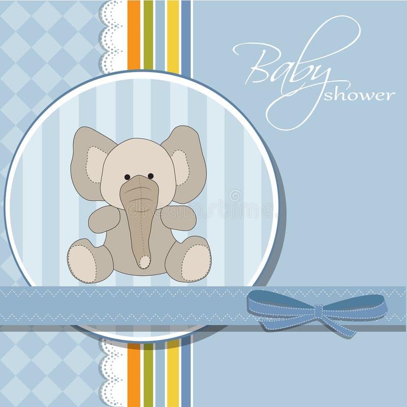 Cartão novo do anúncio do bebê com elefante ilustração royalty free