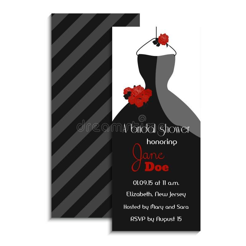 Cartão nupcial do convite do chuveiro Ilustração do vetor Projeto clássico com vestido e rosas de casamento Acessório do partido ilustração stock