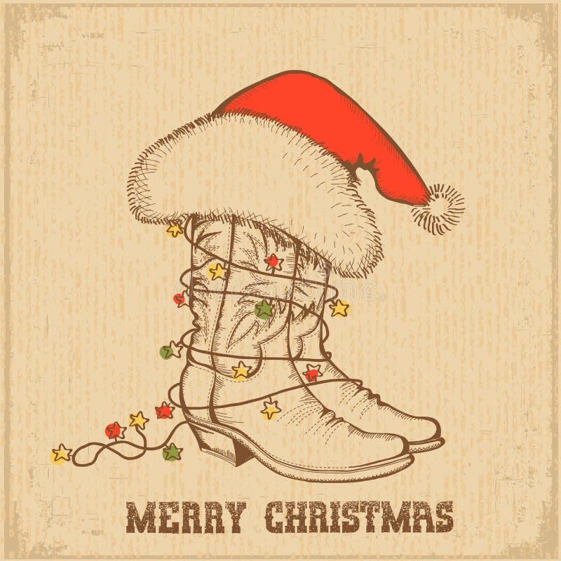 Cartão ocidental do Natal com as botas tradicionais do vaqueiro ilustração royalty free