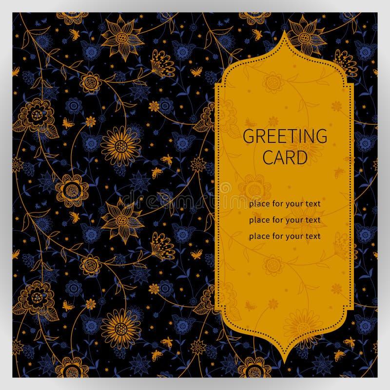 Cartão ornamentado do vintage com flores e borboletas ilustração royalty free