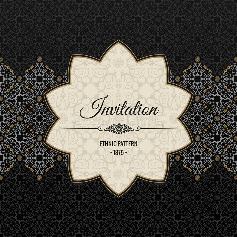 Cartão ornamentado islâmico do vintage Decoração floral do victorian preto do vetor ilustração royalty free