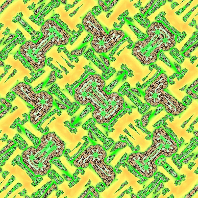 Cartão ou bandeira abstrata do quadro do aquarelle em verde e amarelo garridos ilustração royalty free