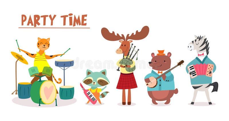 Cartão ou cartaz à moda com a faixa animal bonito no estilo dos desenhos animados Vector a ilustração com os músicos animais no f ilustração royalty free