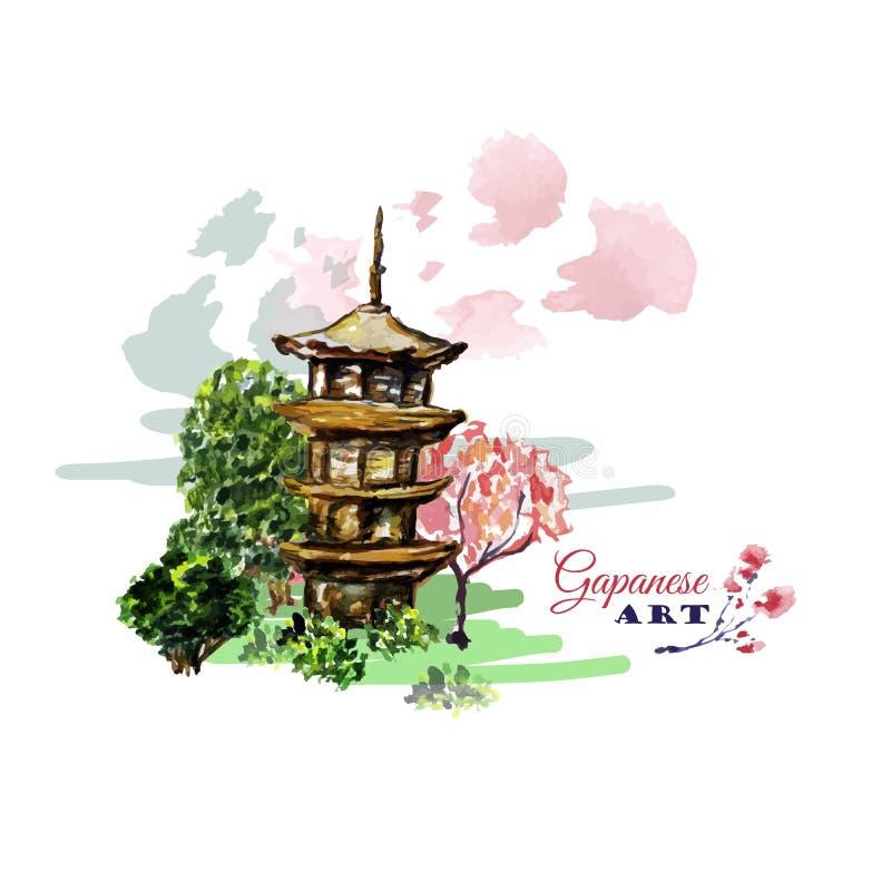 Cartão ou cartaz com a árvore da paisagem de Ásia, da construção e da florescência de sakura do ramo no estilo japonês tradiciona ilustração royalty free