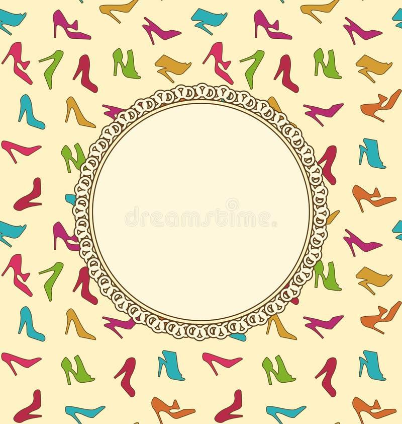 Cartão ou convite com sapatas das mulheres Textura sem emenda ilustração do vetor