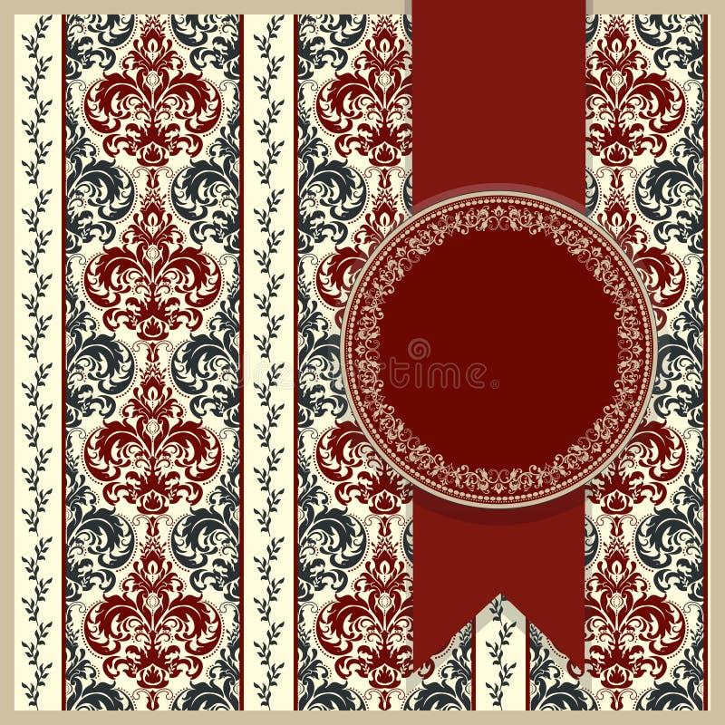 Cartão ou convite de casamento com fundo floral abstrato Cartão do cumprimento no grunge ou no vetor retro ilustração do vetor