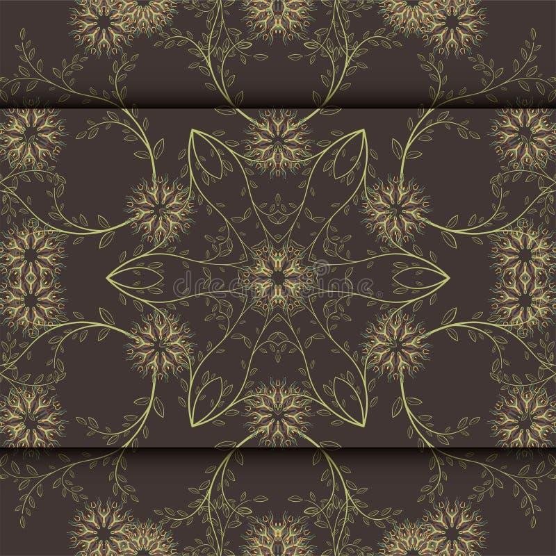 Cartão ou convite de casamento com fundo floral abstrato Cartão do cumprimento no grunge ou teste padrão retro da elegância do ve ilustração stock