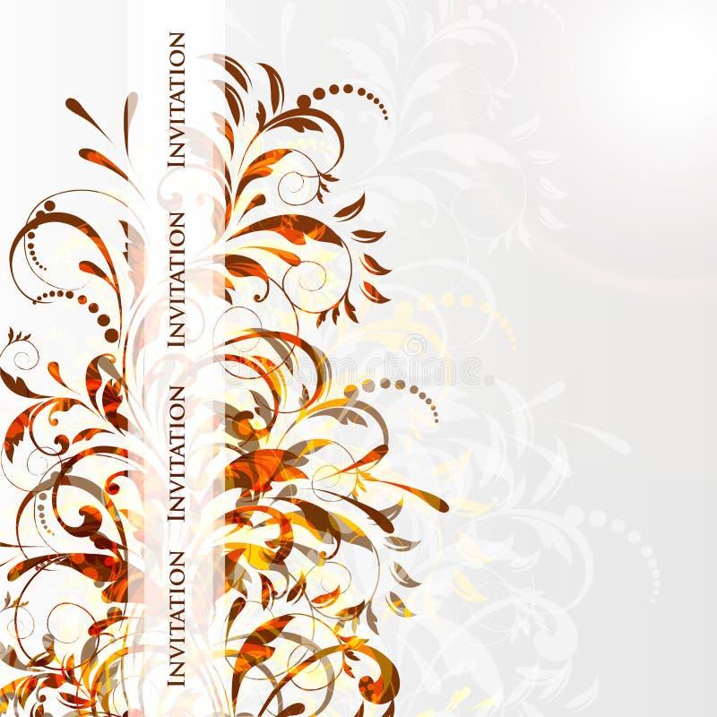 Cartão ou convite de casamento com os vagabundos florais abstratos ilustração do vetor