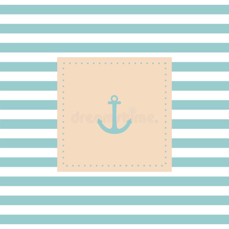 Cartão ou convite náutico do vetor em listras brancas azuis da hortelã ilustração stock