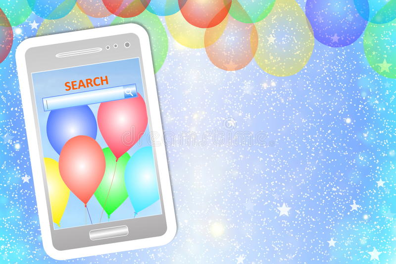 Cartão ou fundo do aniversário com telefone celular ilustração stock