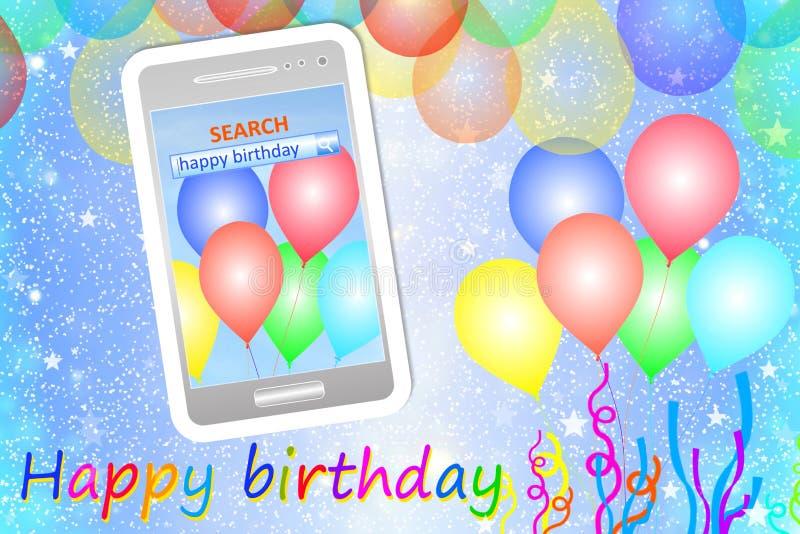 Cartão ou fundo do aniversário com telefone celular ilustração royalty free