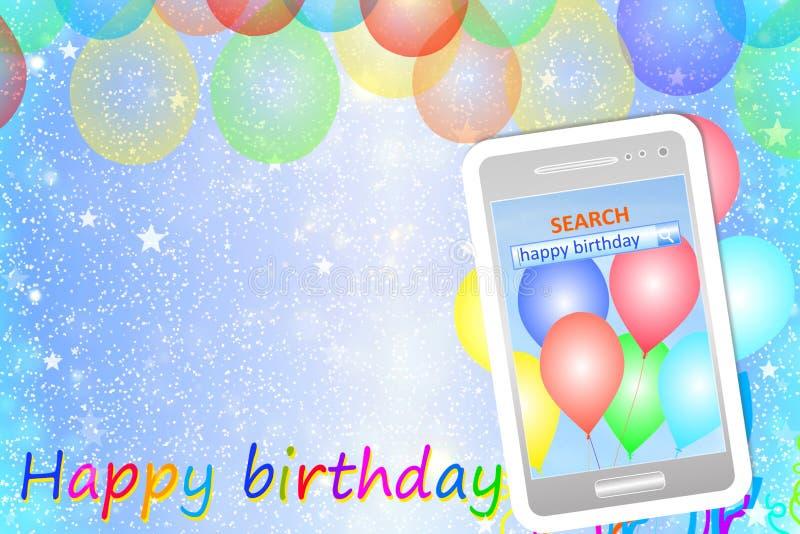 Cartão ou fundo do aniversário com telefone celular ilustração do vetor