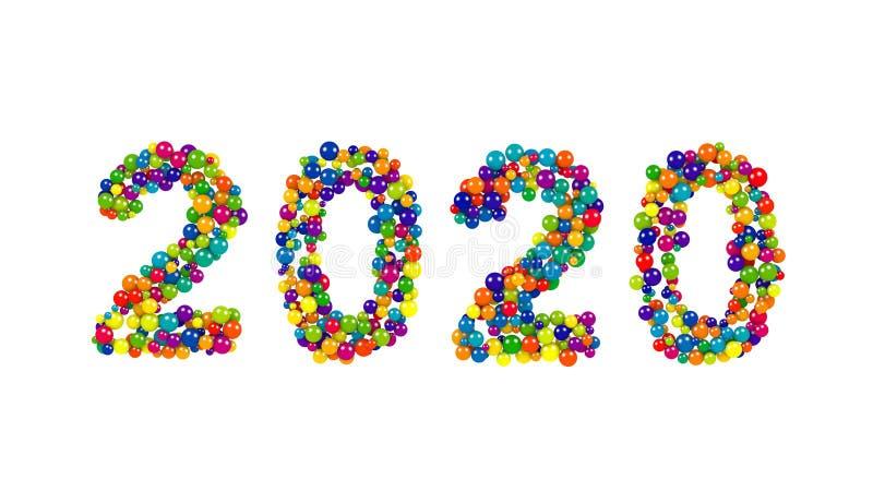 Cartão ou molde do ano 2020 novo ilustração royalty free