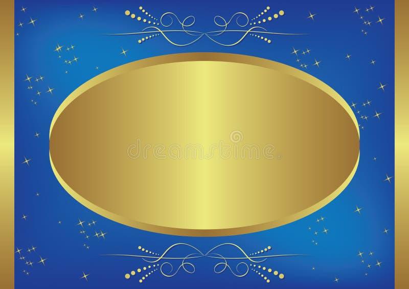 cartão Ouro-azul com estrelas ilustração do vetor