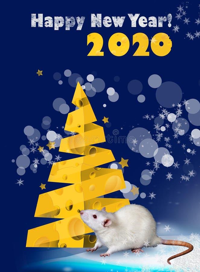Cartão para 2020 Ano do rato Ano novo feliz 2020! Projeto de cartão do ano novo ilustração royalty free