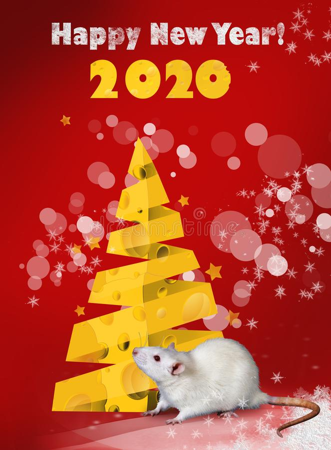 Cartão para 2020 Ano do rato Ano novo feliz 2020! Projeto de cartão do ano novo ilustração stock