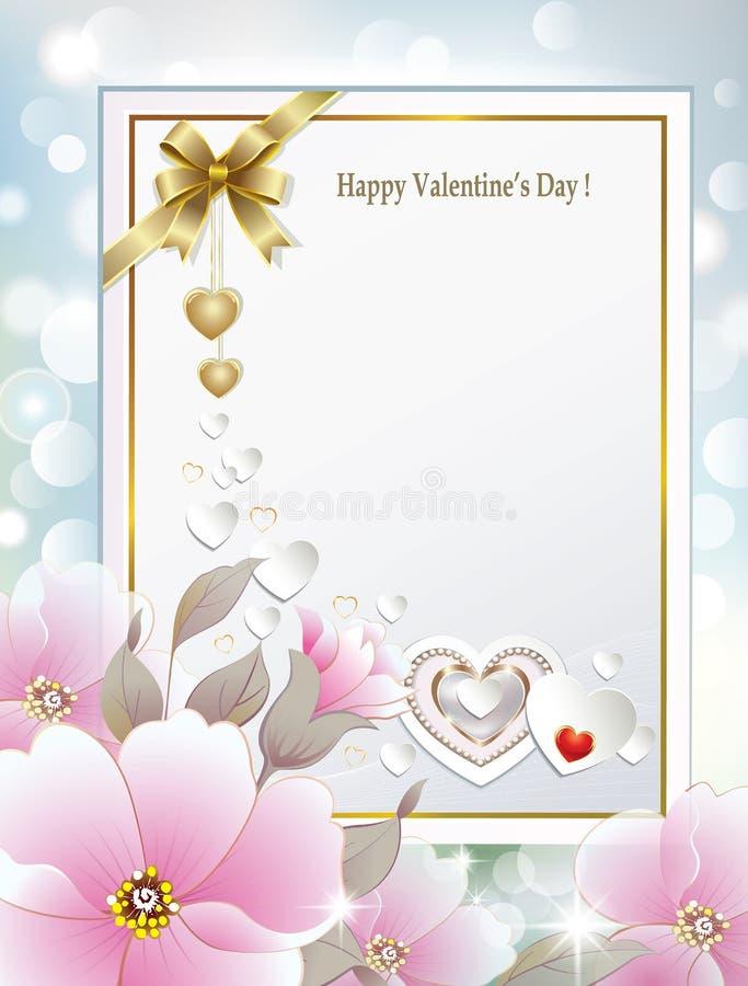 Cartão para felicitações com as flores no dia de Valentim ilustração do vetor