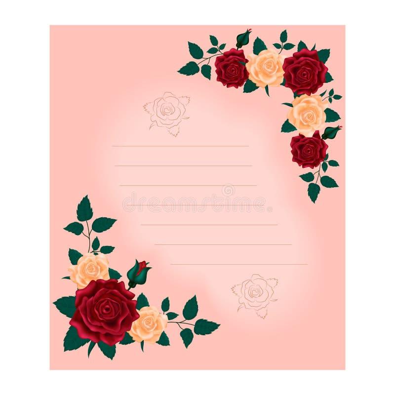 Cartão para felicitações no dia das mulheres internacionais Teste padrão das rosas e da folha no canto superior e mais baixo Camp ilustração stock