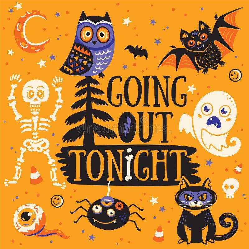 Cartão para Halloween Saída hoje à noite Ilustração do vetor ilustração royalty free