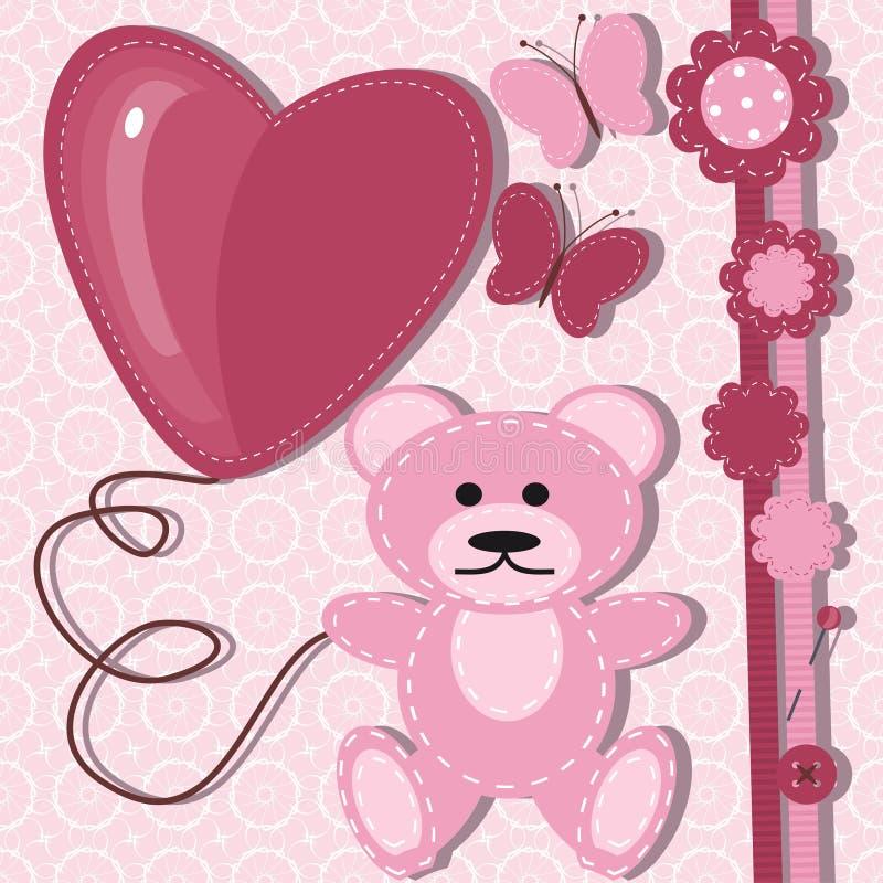 Cartão para o bebê com urso de peluche ilustração royalty free