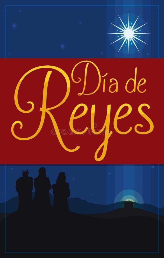 Cartão para o ` de Dia de Reyes do ` para o esmagamento com três três Reis Magos, ilustração do vetor ilustração stock