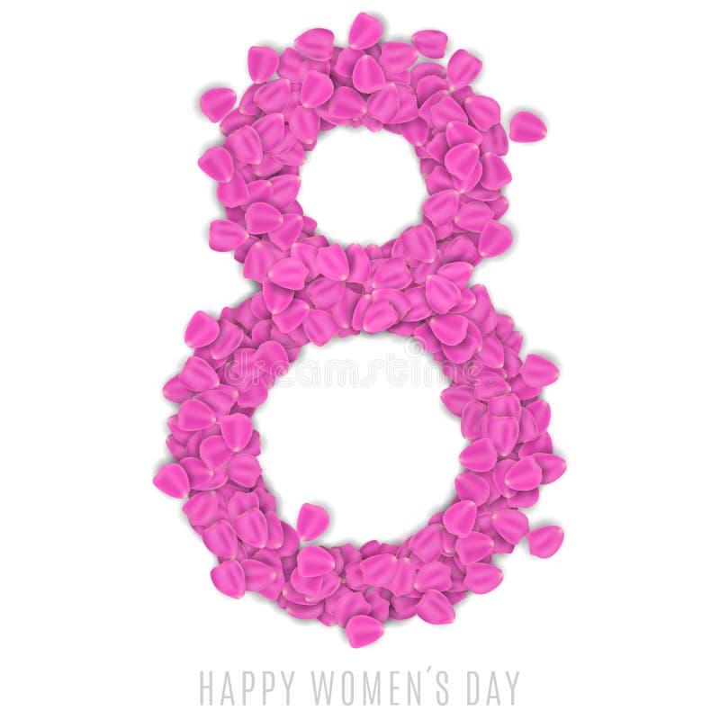 Cartão para o 8 de março no fundo branco Figura 8 das pétalas cor-de-rosa cor-de-rosa folheto luxuoso para o dia das mulheres fel ilustração stock