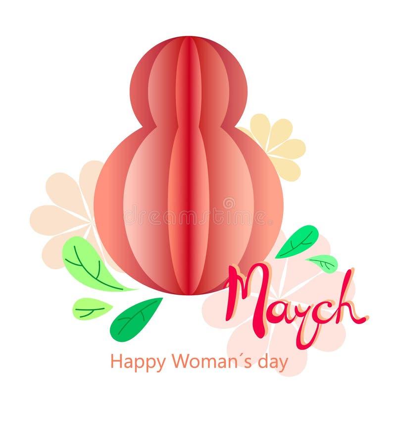 Cartão para o dia das mulheres do 8 de março Fundo abstrato com texto e flores Ilustração do vetor Corte do papel e estilo do ofí ilustração royalty free