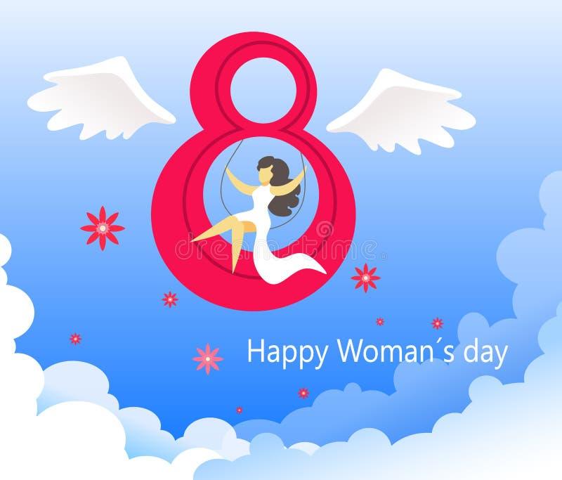 Cartão para o dia das mulheres do 8 de março Um fundo original e festivo com figura voada oito e uma menina em um vestido branco  ilustração royalty free