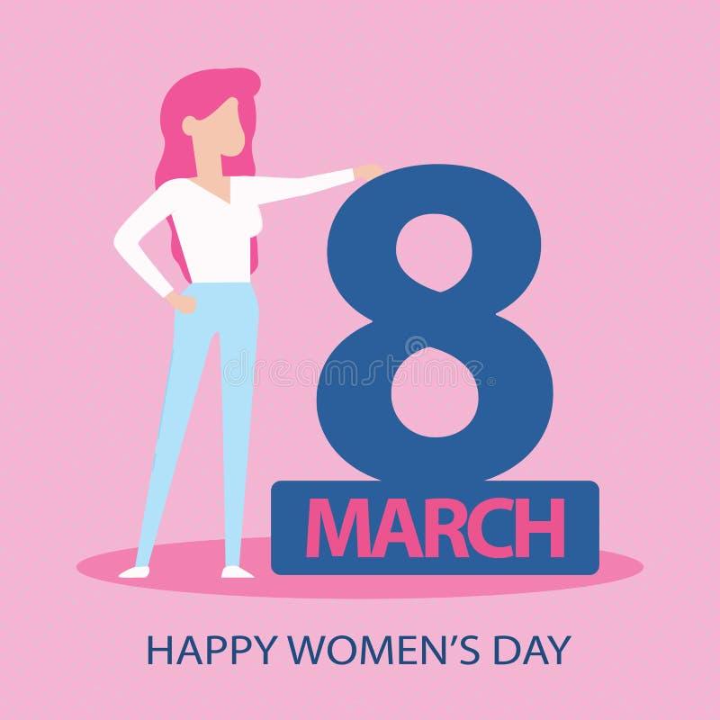 Cartão para o dia das mulheres s do 8 de março Fundo abstrato com texto e flores Ilustração do vetor Corte do papel e estilo do o ilustração royalty free