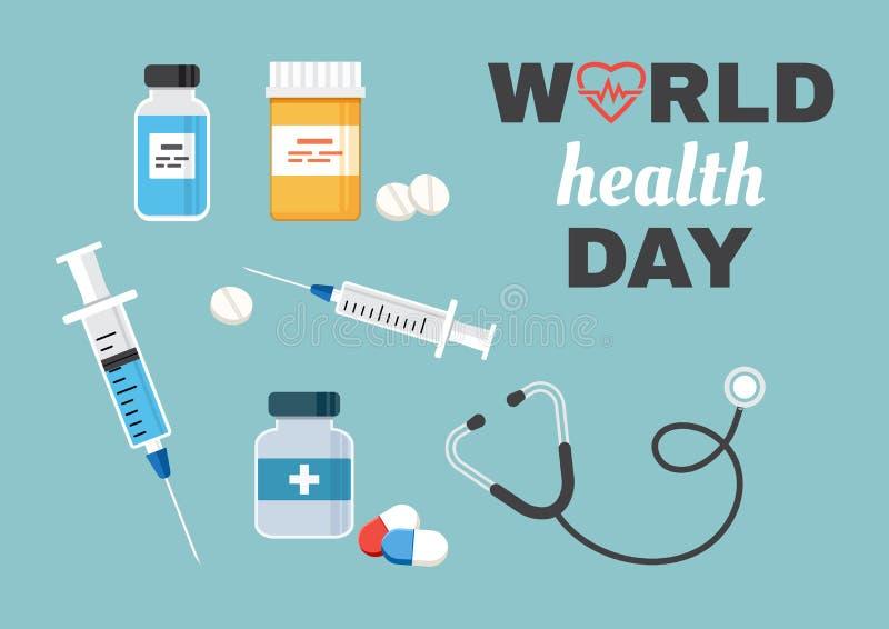 Cartão para o dia de saúde de mundo Vetor ilustração stock
