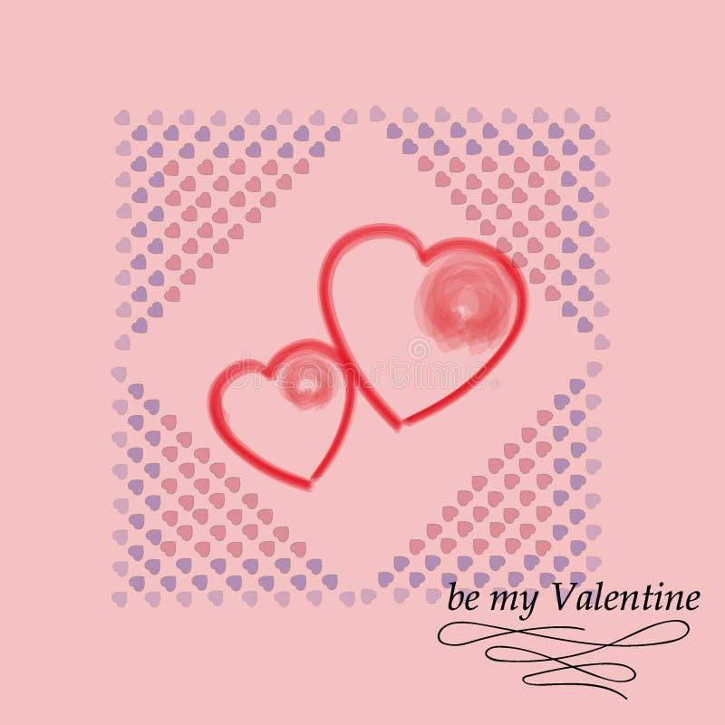 Cartão para o dia do `s do Valentim Seja meu Valentim Textura decorativa do vetor fotografia de stock