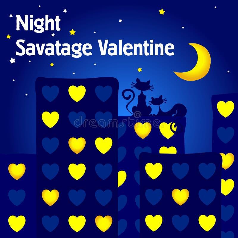 Cartão para o dia do `s do Valentim A noite dos amantes Os gatos sentam-se no telhado da casa que olha a lua ilustração royalty free