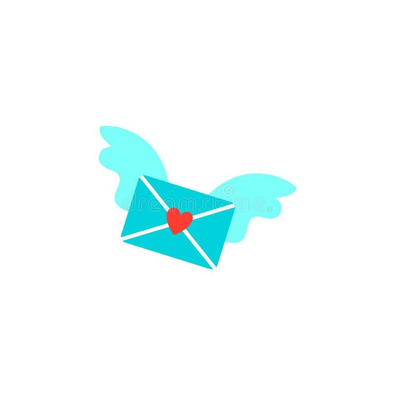 Cartão para o dia do Valentim Envie o amor e o envelope no estilo do corte do papel Coração cor-de-rosa do origâmi Angel Wings Em ilustração royalty free