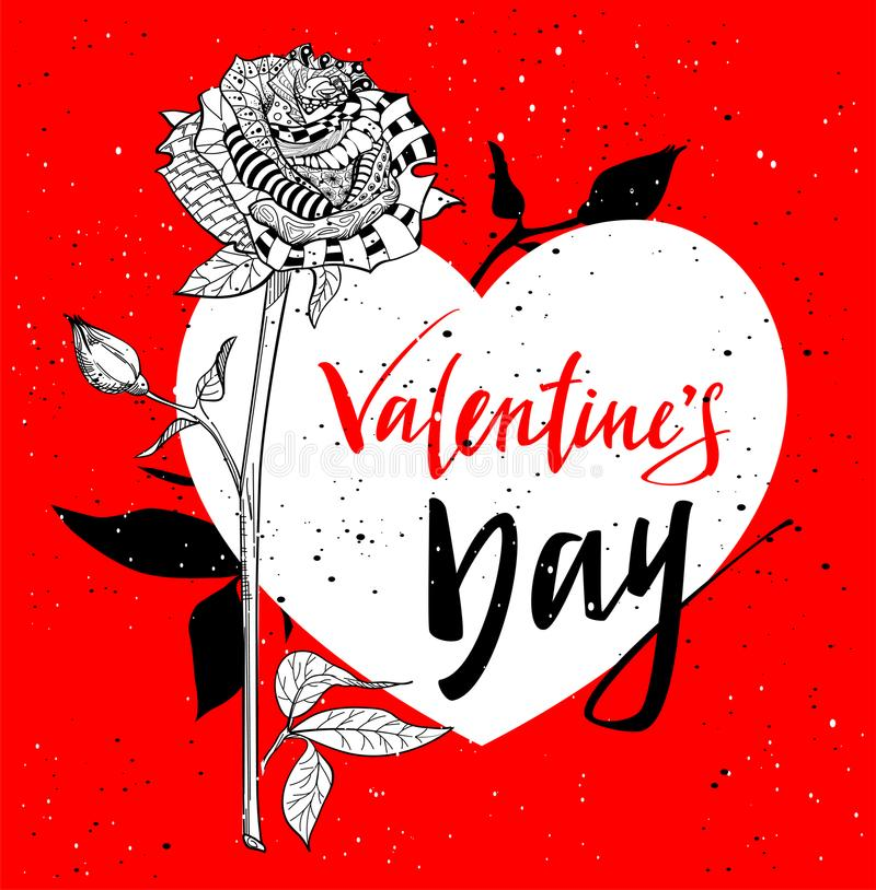 Cartão para o dia dos Valentim Flor cor-de-rosa do sumário ilustração royalty free