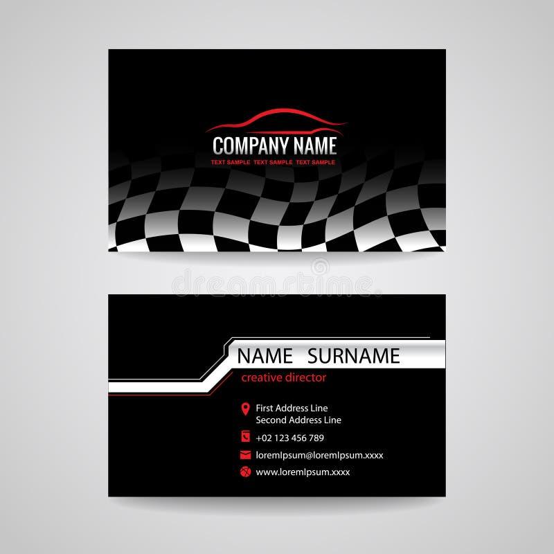 Cartão para o esporte e a lavagem de carros das corridas de carros do transporte ilustração stock