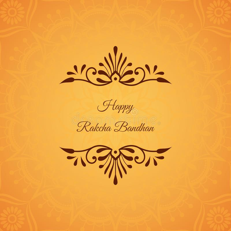Cartão para o feriado indiano Raksha Bandhan com decorativo ilustração stock