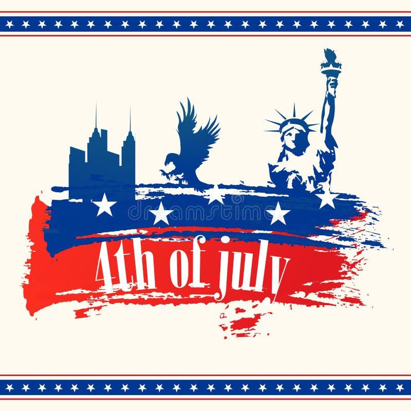Cartão para o 4o da celebração de julho ilustração stock