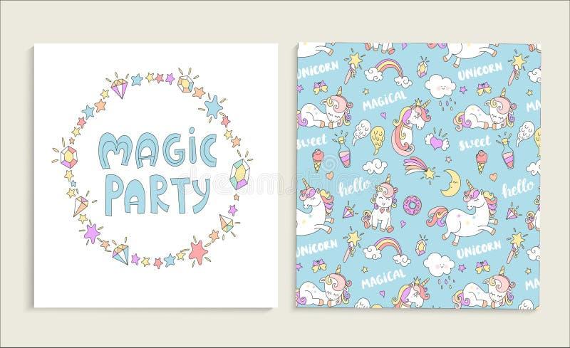 Cartão para o partido mágico com unicórnios ilustração stock