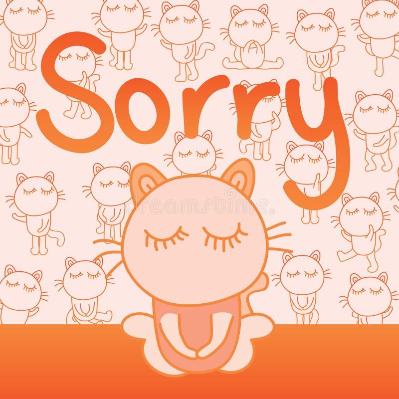 Cartão pesaroso do gato ilustração do vetor